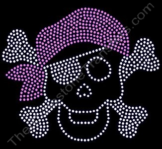 Skull and Crossbones with Bandana - Pink - Rhinestone Design File Download