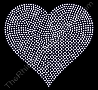 Heart - 6 Inches - Clear - Rhinestone Transfer