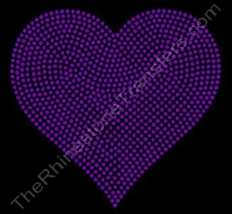 Heart - 6 Inches - Amethyst - Rhinestone Transfer
