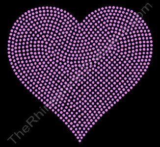 Heart - 6 Inches - Pink - Rhinestone Transfer