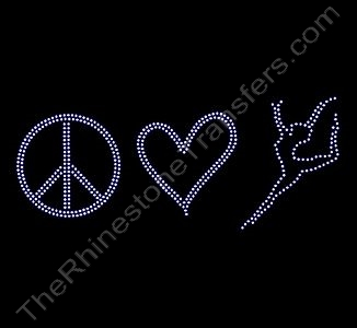 Peace Heart Dancer - Rhinestone Transfer