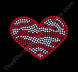 Zebra Heart - Red Outline - Red and Silver Stripes - Spangle Transfer