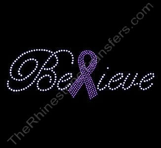 Believe - with Pink Ribbon - Rhinestone Transfer