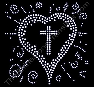 Cross - Inside Heart - Rhinestone Transfer