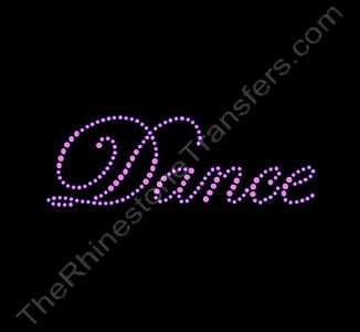 Dance - Fancy Script - Pink - Rhinestone Transfer