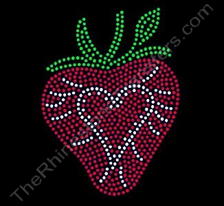 Strawberry - with Heart Center - Rhinestone Transfer