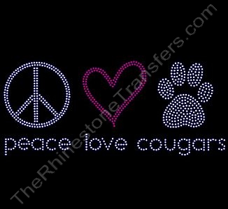 peace love paw - cougars - Rhinestone Transfer