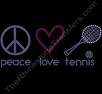 peace love tennis - with Ball and Racket - Rhinestone Transfer