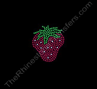 Strawberry - 2 Inch Height - Style 2 - Rhinestone Transfer