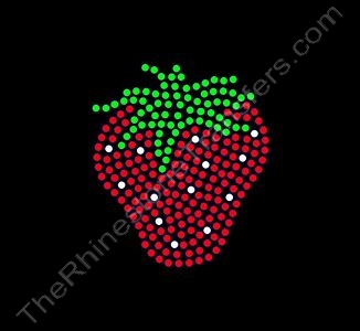 Strawberry - 3 Inch Height - Rhinestone Transfer