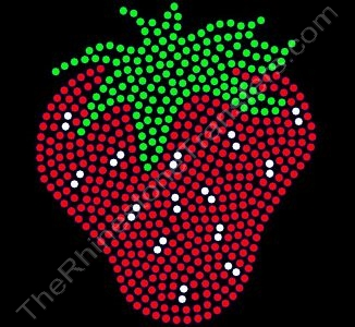 Strawberry - 6 Inch Height - Rhinestone Transfer
