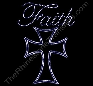 Faith - with Cross - Rhinestone Transfer