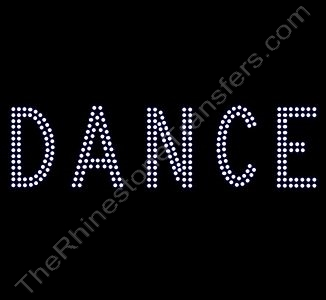 DANCE - 2 Rows of Stones - 7.6 Inches Wide - Clear - Rhinestone Transfer