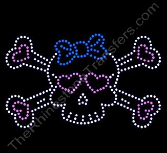 Skull and Crossbones - with Blue Bow and Pink Hearts - LARGE - Rhinestone Design File Download