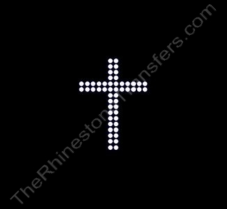 Cross - Small - Double Rows of Stones - Rhinestone Transfer