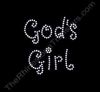 God's Girl - Curlz Font - Rhinestone Design File Download