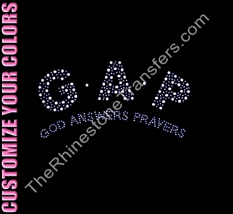 GAP God Answers Prayers - CUSTOMIZE YOUR COLORS - Rhinestone Design File Download