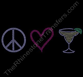 Peace Heart Margarita - Rhinestone Transfer