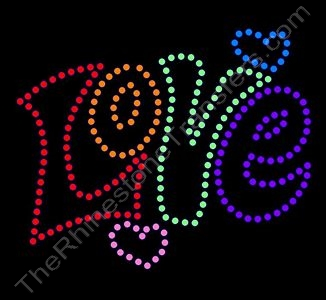 Retro LOVE - Multicolored - Rhinestone Transfer