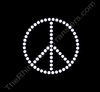 Peace Sign - 2 Inches - 1 Row of Stones - Clear - Rhinestone Transfer