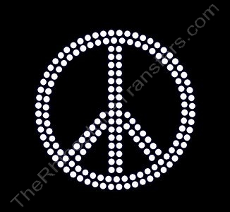 Peace Sign - 3.7 Inches - Rhinestone Transfer