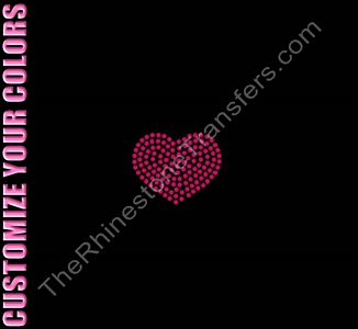 Heart - 2 Inches - CUSTOMIZE YOUR COLORS - Rhinestone Transfer