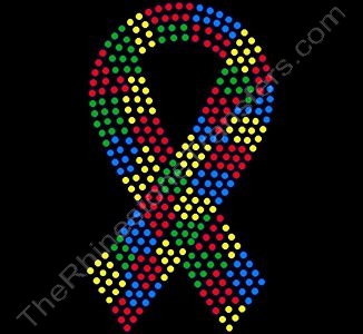 Autism Ribbon - 7 Inches - Rhinestone Transfer