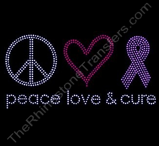 peace love cure - with ss10 Stones - Pink Ribbon - Rhinestone Transfer