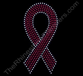 Ribbon - 7 Inches - Red with Clear Outline - Rhinestone Transfer