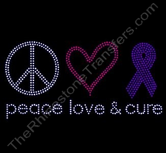 peace love cure - with ss10 Stones - Purple Ribbon - Rhinestone Transfer