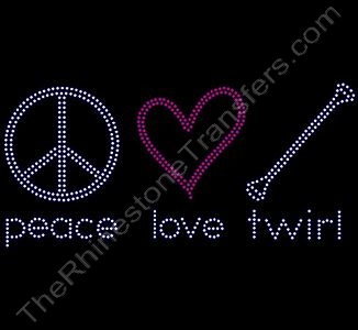 peace love twirl - Rhinestone Transfer