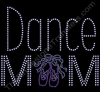 Dance Mom - with Ballet Slippers in Pink - Rhinestone Transfer