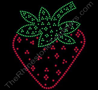Strawberry - 7.3 Inch Height - Rhinestone Transfer