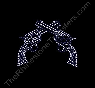 Guns - Six Shooters - Medium - Rhinestone Transfer