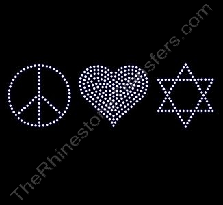 Peace Heart 6-Pointed-Star - Rhinestone Transfer