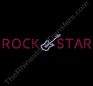 Rock Star with Guitar - Rhinestone Transfer