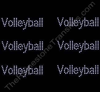 Petite Volleyball - Text Only - 6 per Sheet - Rhinestone Transfer