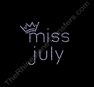 miss month 7 with Crown: miss july - Rhinestone Transfer