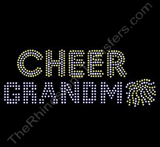 CHEER Grandma - with Pom - Rhinestone Transfer