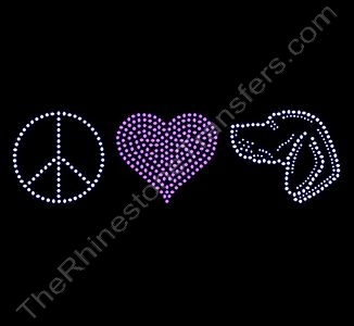 Peace Heart Dog - Pink Heart - Rhinestone Transfer