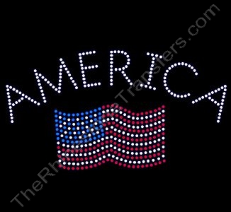 AMERICA with Flag - Rhinestone Transfer