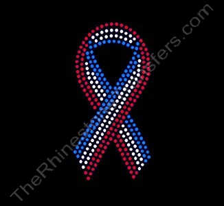 Ribbon - 5 Inches - Red White and Blue - Rhinestone Transfer