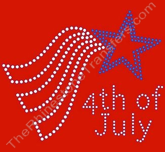 4th of July - Style 1 - Clear & Blue - Rhinestone Transfer