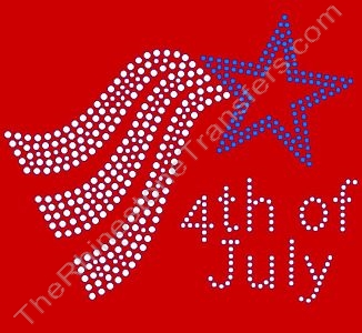 4th of July - Style 2 - Clear & Blue - Rhinestone Transfer