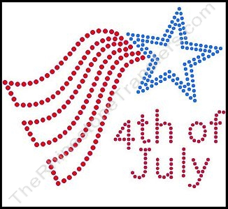 4th of July - Style 1 - Red & Blue - Rhinestone Transfer