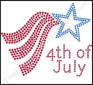 4th of July - Style 2 - Red & Blue - Rhinestone Transfer