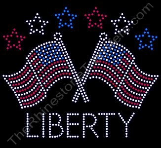 LIBERTY with 2 Flags - Rhinestone Transfer