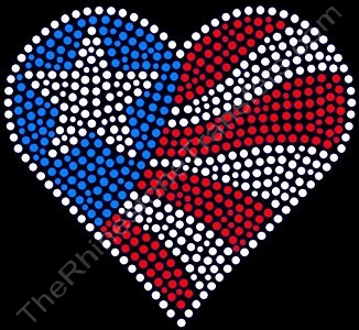 Heart USA Flag - LARGE - Rhinestone Transfer