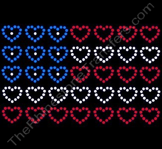 USA Flag with Hearts - Rhinestone Transfer