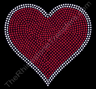 Heart - 6 Inches - Red with Clear Outline - Rhinestone Transfer
